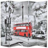 vidaXL Taitettava tilanjakaja Lontoon bussi 200x170 cm mustavalkoinen