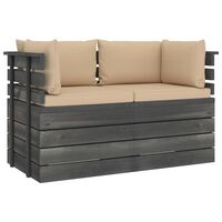 vidaXL Garden 2-Seater Pallet Sofa with Cushions Solid Pinewood (2x315419+2x315067)