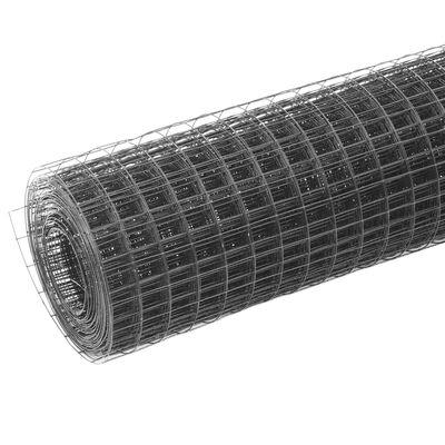 vidaXL Kanaverkko teräs PVC pinnoitteella 25x1 m harmaa