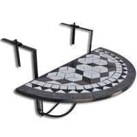 vidaXL Roikkuva parvekepöytä musta ja valkoinen mosaiikki