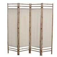 vidaXL Kokoontaitettava huoneenjakaja 4 paneelia bambu ja kangas 160cm
