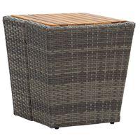 vidaXL Teepöytä harmaa 41,5x41,5x43cm polyrottinki ja täysi akaasiapuu