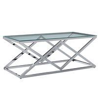 vidaXL Sohvapöytä läpinäkyvä 120x60x45 cm karkaistu lasi ja teräs