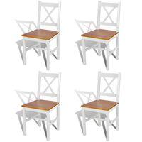 vidaXL Ruokapöydän tuolit 4 kpl valkoinen mänty