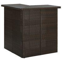 vidaXL Kulmabaaripöytä ruskea 100x50x105 cm polyrottinki