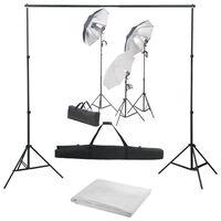 vidaXL Valokuvastudiosarja valosarjalla ja taustakankaalla