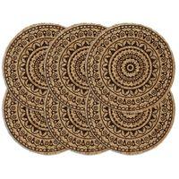 vidaXL Tabletit 6 kpl tummanruskea 38 cm pyöreä juutti