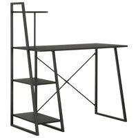 vidaXL Työpöytä hyllyillä musta 102x50x117 cm