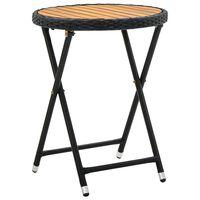 vidaXL Teepöytä musta 60 cm polyrottinki ja täysi akaasiapuu