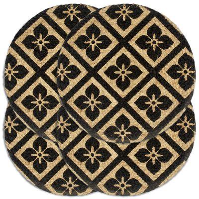 vidaXL Tabletit 4 kpl musta 38 cm pyöreä juutti, Musta