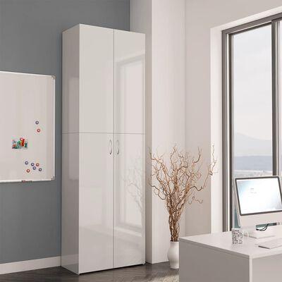 vidaXL Toimistokaappi korkeakiilto valkoinen 60x32x190 cm lastulevy