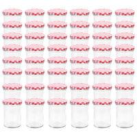vidaXL Lasiset hillopurkit valkopunaisilla kansilla 48 kpl 400 ml