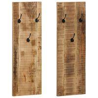vidaXL Seinäkiinnitteiset naulakot 2 kpl kiinteä mangopuu 36x110x3 cm