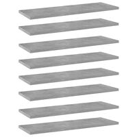 vidaXL Kirjahyllytasot 8 kpl betoninharmaa 60x20x1,5 cm lastulevy
