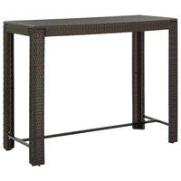 vidaXL Puutarhan baaripöytä ruskea 140,5x60,5x110,5 cm polyrottinki