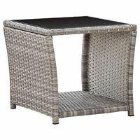 vidaXL Sohvapöytä harmaa 45x45x40 cm polyrottinki ja lasi