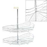 vidaXL 2-kerroksinen keittiön ritilähylly hopea 180° 75x38x80 cm