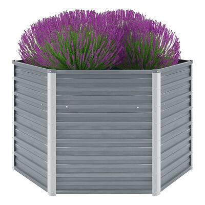 vidaXL Korotettu kukkalaatikko galvanoitu teräs 129x129x77 cm harmaa