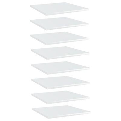 vidaXL Kirjahyllytasot 8 kpl korkeakiilto valkoinen 40x40x1,5 cm lastulevy