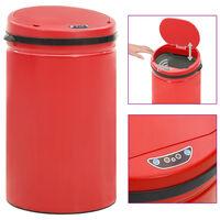 vidaXL Roskakori automaattisella anturilla punainen hiiliteräs 40 l