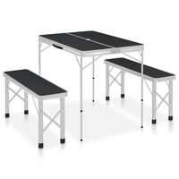 vidaXL Kokoontaitettava retkipöytä kahdella penkillä alumiini harmaa