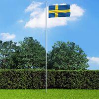 vidaXL Ruotsin lippu 90x150 cm