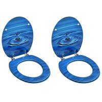 vidaXL WC-istuimet kansilla 2 kpl MDF sininen vesipisarakuosi