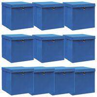 vidaXL Säilytyslaatikot kansilla 10 kpl sininen 32x32x32 cm kangas
