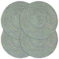 vidaXL Tabletit 4 kpl kuvioton oliivinvihreä 38 cm pyöreä juutti